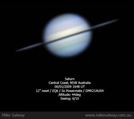 Saturni ketas paistab serviti: Mike Salway tehtud pilt aadressilt http://www.mikesalway.com.au/gallery/albums/userpics/10001/65/20080106-Saturn-MikeSalway.jpg