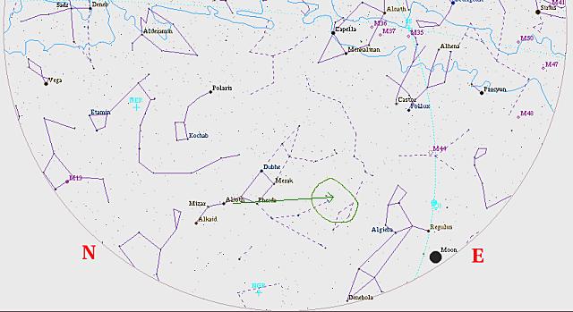 """Tundmatu Lendav Objekt Eestimaa taevas: Kaart on tehtud selliselt, et asimuut 50 kraadi asub all servas. Rohelise ringiga on tähistatud piirkond, kus sündmus toimus, nool osutab täpsemat suunda (Suure Vankri aisa esimese tähe ja """"aisa kinnituskoha"""" vahelt üle vankri aisapoolse alumise tähe)."""