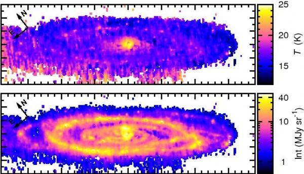 Külma tolmu temperatuuri ja intensiivsuse kaart Andromeeda galaktikas