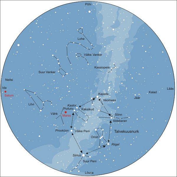Talvekuusnurk. Taevakaart vastab 15. veebruarile kell 21.00.