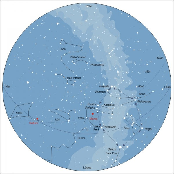 Taevakaart 15. märtsil 2010 kell 21.30