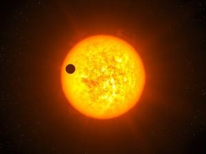 Kunstniku nägemus eksoplaneedist CoRoT-9b tähe taustal. Pilt: ESO / L. Calçada