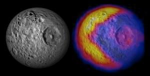 Mimase veider temperatuurijaotus. Pilt: NASA/JPL/GSFC/SWRI/SSI