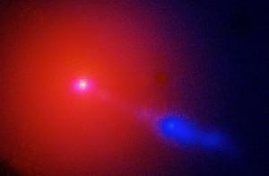 ESA Väga Suure Teleskoobi poolt tehtud foto M87 galaktikast. Sinist udu seostatakse galaktika keskmes oleva hiiglasliku musta auguga. Foto·: ESA