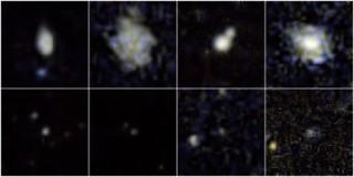 Ülemisel real on pilt galaktikatest, kus on toimunud tüüpilised supernoovad, alumisel real pildid kääbusgalaktikatest, milles toimusid suured supernoova plahvatused. Pilt: NASA/JPL-Caltech