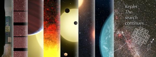 Kunstniku ettekujutus Kepleri tähtsaimatest saavutustest.