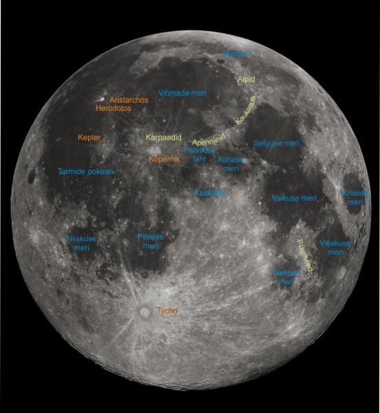 Kuu meiepoolse külje tähtsamad pinnavormid.