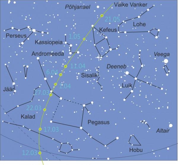 Komeet C/2011 L4 (Pan-STARRS) liikumistee. Pilt: Helle Jaaniste