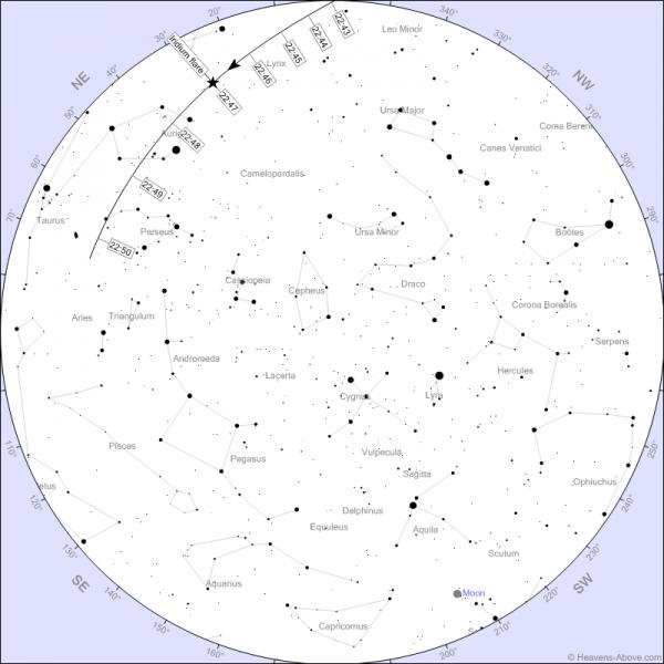 Iriidiumi (Iridium 96) sähvatus 14. septembril kell 22:47. Heledus -6 tähesuurust!
