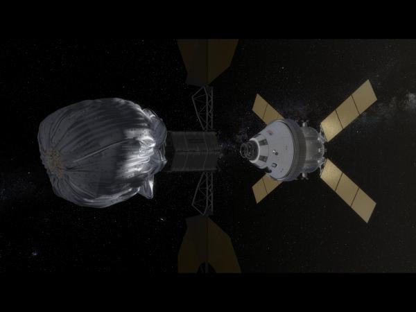 Kunstiku nägemus Orioni kosmoselaevast lähenemas asteroidile. Allikas: NASA