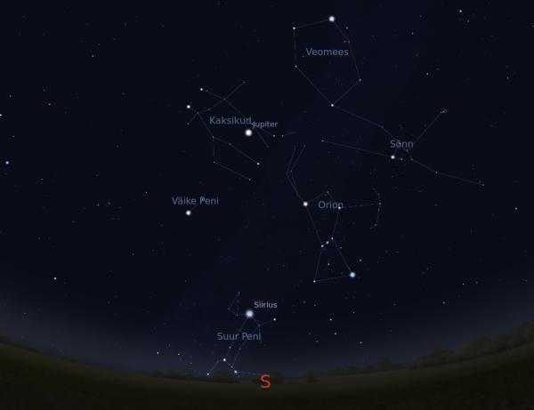Jupiter ja Taevakuusnurga tähtkujud 15. veebruaril kell 21.00.