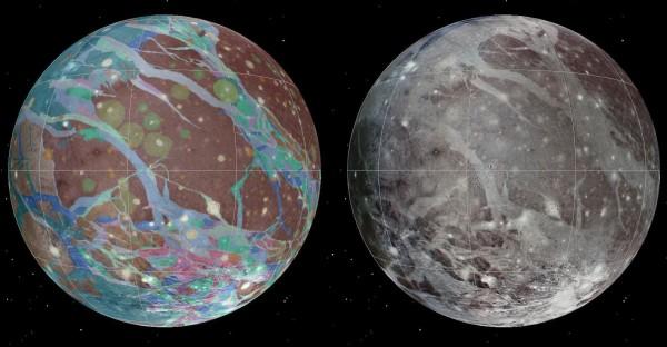 Vasakul on osa Ganymedese geoloogilisest kaardist, paremal Galileo sondi poolt tehtud vastav foto. Kaardil on vanemad pinnavormid pruunid ja nooremad sinakates toonides. Pilt: USGS Astrogeology Science Center/Wheaton/NASA/JPL-Caltech.