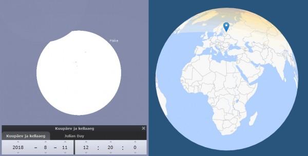 11. augusti päikesevarjutuse maksimum Tartust (pilt: Stellarium) ning varju teekond üle Maa (timeanddate.com)
