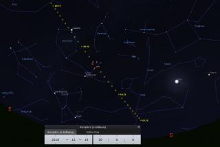 Komeedi 46P/Wirtanen teekond detsembri jooksul. Lähim asend Maale on märgistatud punase markeriga. Pilt: Stellarium
