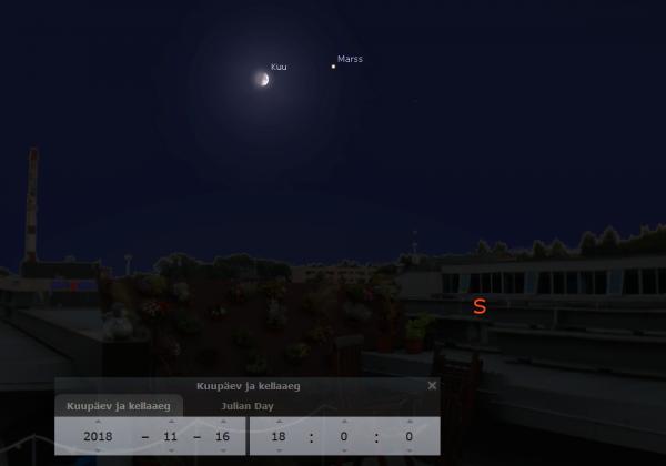 Kuu ja Marss 16. novembri õhtul AHHAA keskuse katusel. Pilt: Stellarium
