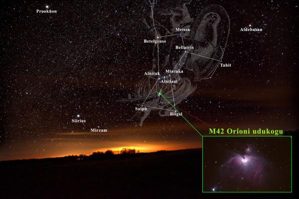 Orioni tähtkuju ja Orioni udukogu (M42) asukoht selles