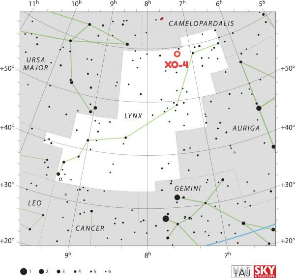 XO-4 tähe ja selle ümber tiirleva eksoplaneet XO-4b asukoht Ilvese tähtkujus