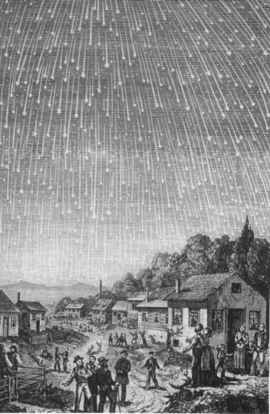 Joonistus leoniidide 1833. aasta tormist