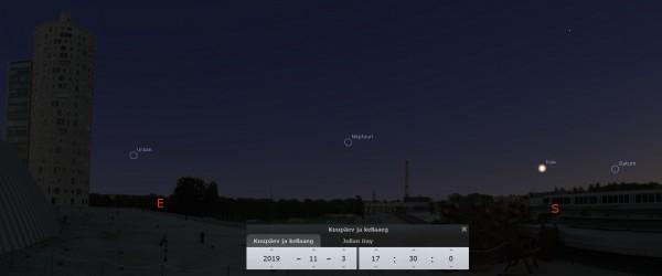 Taevas 3. novembri õhtul AHHAA keskuse katuselt. Pilt: Stellarium