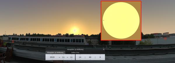 Vaade Merkuurile AHHAA keskuse katuselt. Juba ülemineku alguses on Päike üpris madalal.