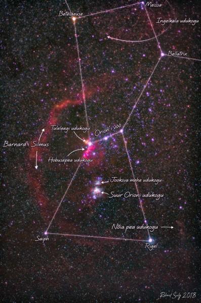 Orioni tähtkuju ja molekulaarkompleks koos selgitavate nimedega