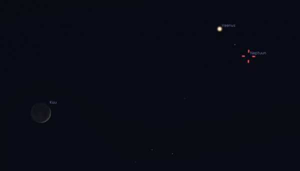 Kuu, Veenuse ja Neptuuni kohtumine 28. jaanuari õhtul. Neptuun on palja silmaga nägemiseks liiga nõrk ning vajab teleskoopi. Pilt: Stellarium