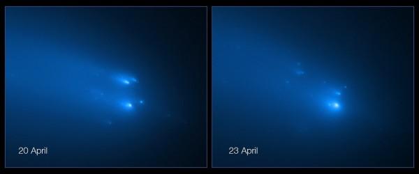 Nendel Hubble kosmoseteleskoobi lähivõtetel Atlase lagunenud tuumast on eristav umbes 30 pisemat fragmenti.