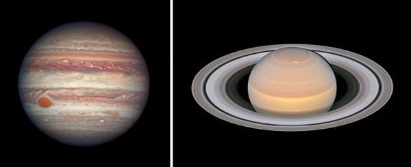 Hiidplaneedid Jupiter ja Saturn Hubble'i kosmoseteleskoobi vahendusel.
