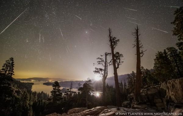 2016. aasta Perseiidide tähesadu jäädvustatud USA Tahoe järve kaldalt. Foto: Tony Fuentes