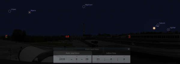 Augustikuu planeeditaevas AHHAA keskuse katuselt nähtuna. Pilt: Stellarium