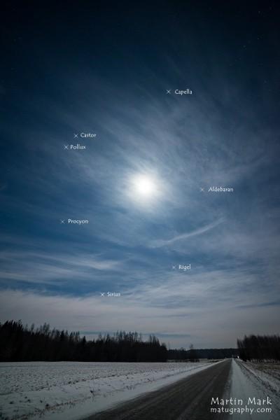 Talvekuusnurk ja Kuu pildistatud 2017. aasta jaanuaris Rõugest. Foto: Martin Mark - https://matugraphy.com/