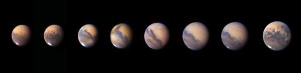 Marsi tänavuse vastasseisu erinevad etapid 8. augustist 18. septembrini. Foto: Roger Hutchinson