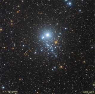 Kassiopeias asuvat ja NGC 457 tähist kandvat täheparve kutsutakse välimuse tõttu ka Öökulli parveks. Foto: Steve Goldberg