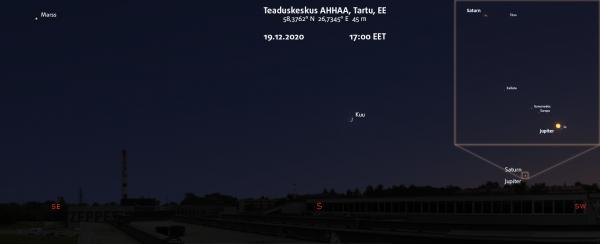 AHHAA katuselt avanev vaade detsembrikuu vaatlustel. Pilt: Stellarium & Space Engine