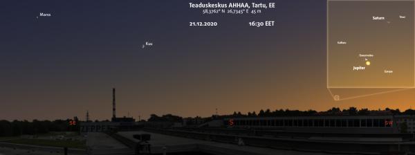 AHHAA katusel avanev vaade, suurendusel teleskoobivaade Jupiteri ja Saturni suurele ühendusele.