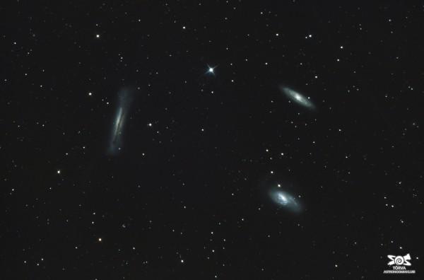 Lõvi kolmik ehk NGC 3628 (vasakul), M65 (ülal) ja M66. Foto: Taavi Niittee (https://www.astromaania.ee), pildistatud märtsis Tõrvas.