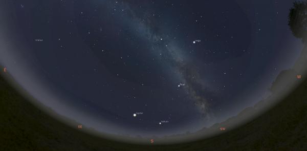 Augusti esimesel nädalal näeb kesköine lõunataevas välja sedasi. Pilt: Stellarium