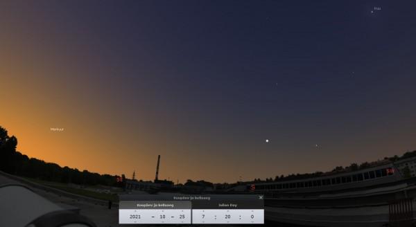 Merkuur, Kuu ja ISSi ülelend AHHAA katuselt 25. oktoobri hommikul. Klõpsa pildile, et näha ISSi ülelendu videona.