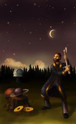 Astronoomiapilt #46: Astronoom tööhoos (arvutijoonistus)